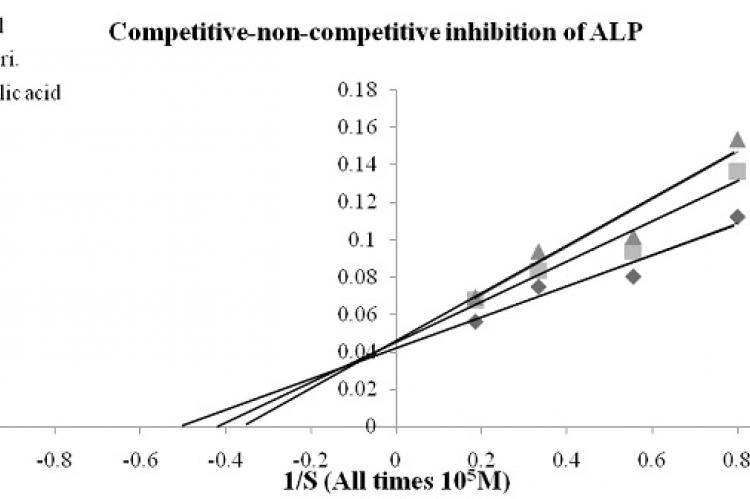 Competitive-non-competitive inhibition of ALP