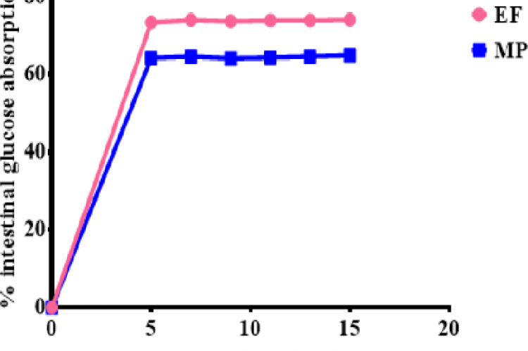 Shows the effect of E. ferox on intestinal glucose absorption. Data expressed as mean ± SD
