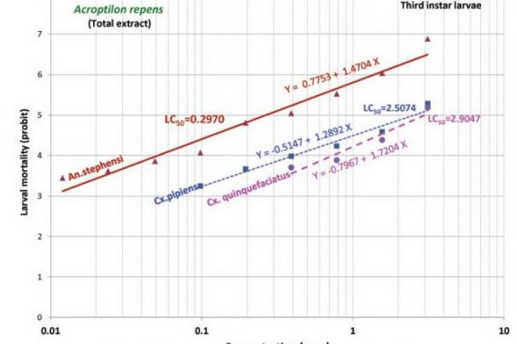Comparative regression lines of total extract A. repens against third instar larvae of three species of mosquito vectors