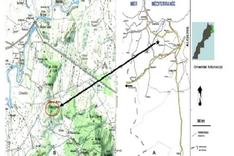 A. general location of study area in Morocco. B. map of Oriental Morocco (1/100000, Mapping direction- Rabat-1974) showing Jbel Takermine (Beni-Snassen mountains)