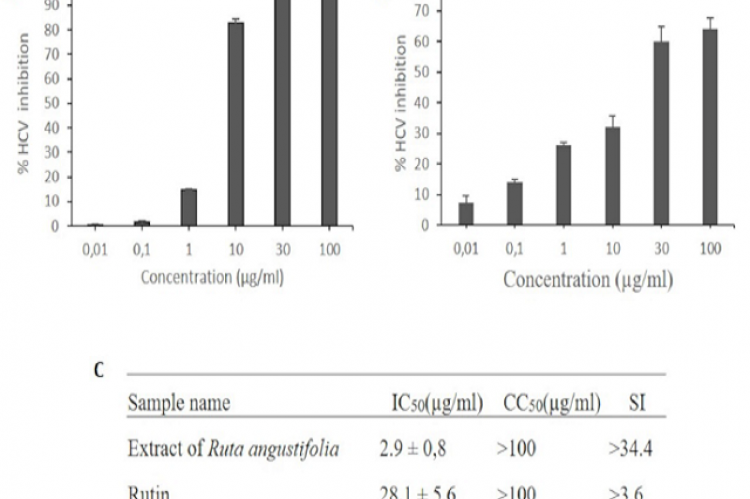 Dose-dependent anti-HCV activities of R.angustifolia extract (A) and Rutin (B). IC50 value, CC50 and selectivity index (SI) (C). Huh7it cells seeded in 48 well plates were infected with HCV and treated with R. angustifolia extract or rutin. Culture supernatant was collected for virus titration. The percentage HCV inhibition was calculated and compared with the control. Data represent means ± SEM of data from three independent experiments.