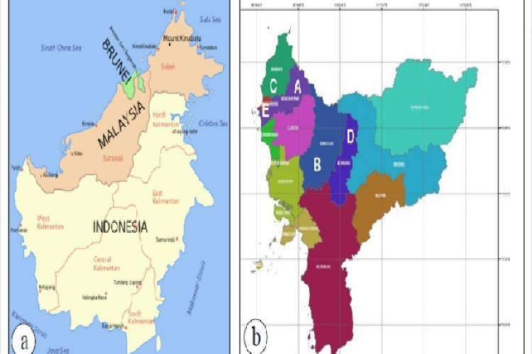 Map of research locations a. Map of Kalimantan Island and b. West Kalimantan Map