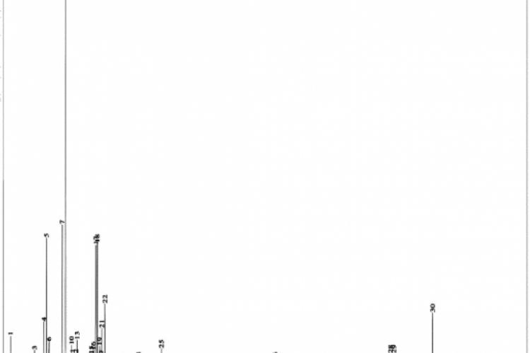 GC-MS chromatogram of PRFP ethanol extract.