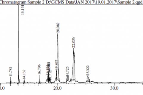 GC-MS Chromatogram of ethanolic extracts of P. auriculata roots.