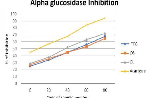 Percentage inhibitory activity of Trigonella foenum graecum, Ocimum sanctum, Curcuma longa on alpha-glucosidase enzyme activity in comparison with acarbose