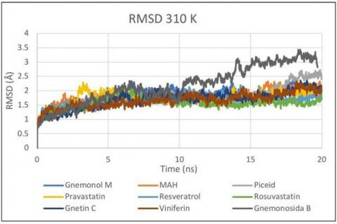 RMSD plot of residues on Microsoft Excel at 310 K during 20 ns.