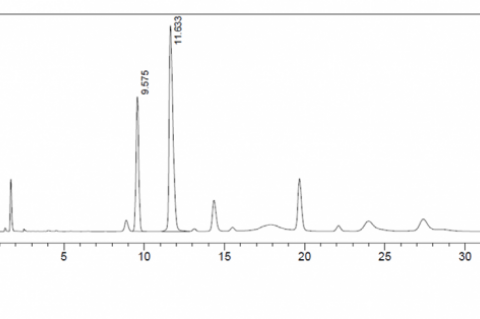 HPLC chromatogram of extract using NADES composition (betaine: sorbitol [1:1.2])